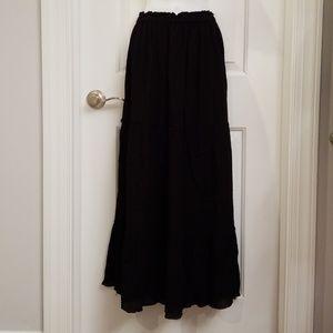 NWOT Zara Black Crepe Tiered Maxi Skirt